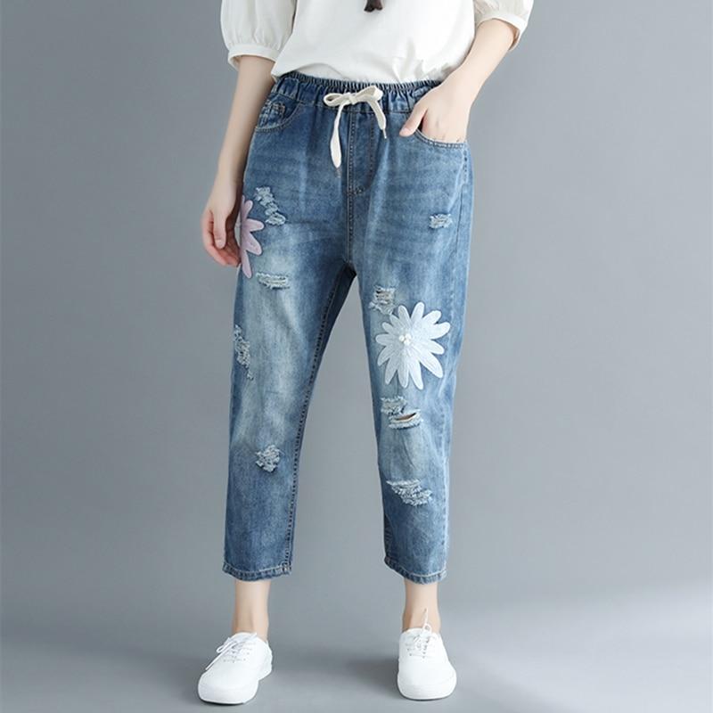 Ripped Jeans Women Loose Plus Size Vintage Denim Trousers Ladies Casual Streetwear Harem Pants Embroidery Flower Womens Bottoms