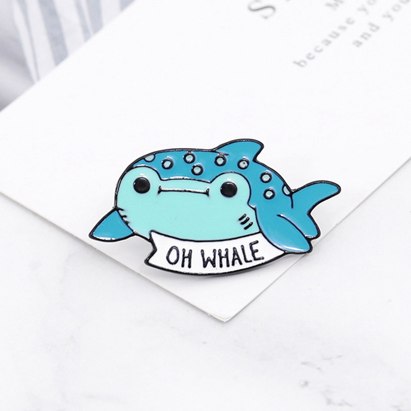 Oh <font><b>Whale</b></font> Brooch Pin Cartoon Brooch Blue <font><b>Whale</b></font> Brooch Pins Cute Animal Corsage Pin Buckle Sweater Coat Decoration image