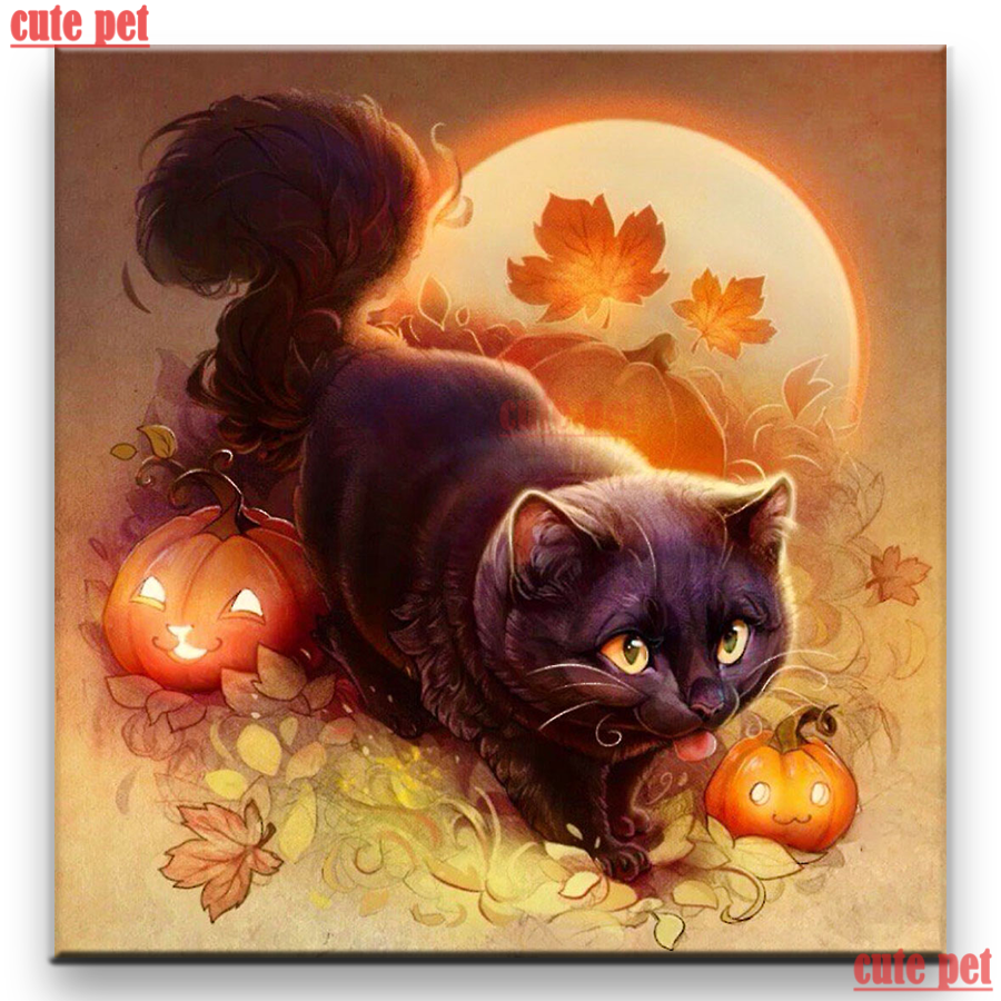 Hd wallpapers and background images Diamond Painting Diy Halloween Pumpkin Black Cat Embroidery Cross Stitches Full Drillhome Wall Decor Diamond Painting Wallpaper Diamond Painting Cross Stitch Aliexpress