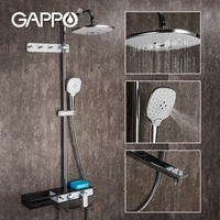 GAPPO Chrome Bath Shower Mixer Faucet Rotate Tub Spout Wall Mount Rainfall Shower Head With Handshower Rainfall Shower System