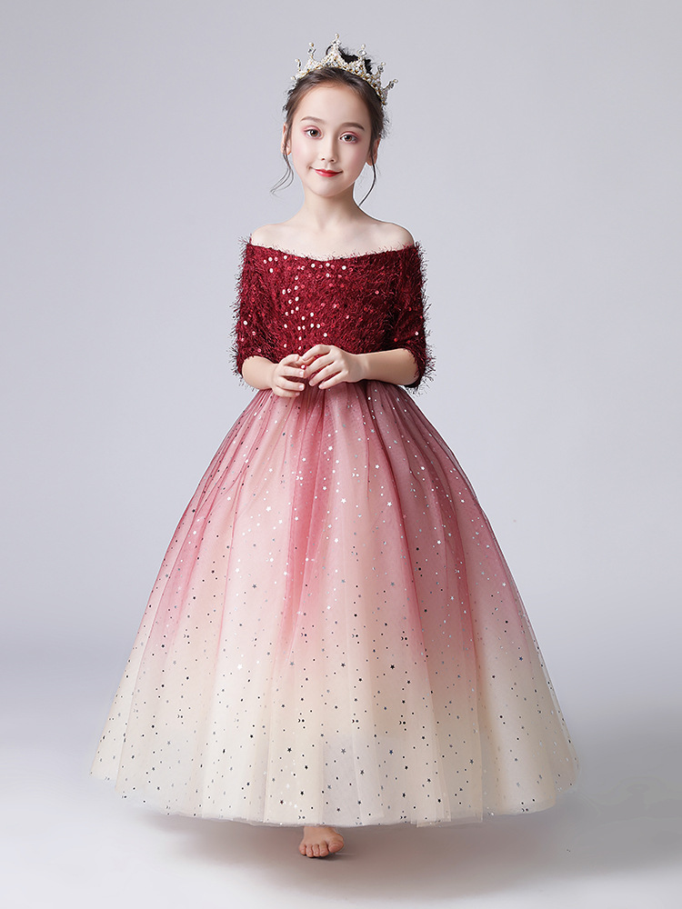 2019 CHILDREN'S Dress Princess Dress Flower Boys/Flower Girls Wedding Dress Long Girls Piano Costume Small Host Puffy Yarn Autum