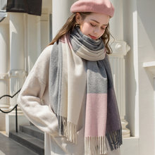 Новый тонкий шерстяной шарф в клетку теплые женские кашемировые