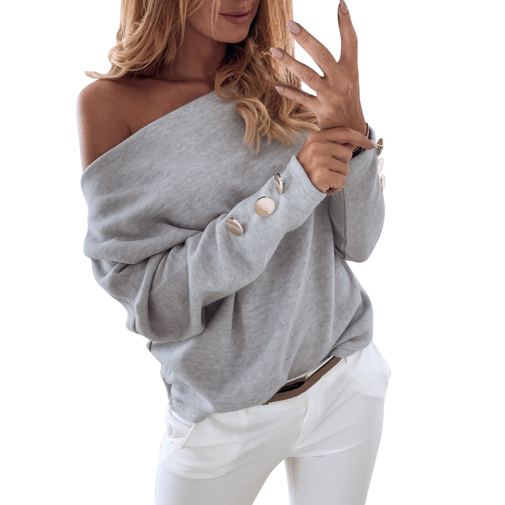 Autumn Off Shoulder Knitted Sweater Women Sexy Pullover Long Slash Neck Button Solid Winter Casual Sweaters Streetwear Tops 2019