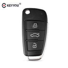 KEYYOU 3 przycisk składany pilot zdalnego sterowania składany kluczyk samochodowy przypadku Shell Fob dla Audi A2 A3 A4 A6 A6L A8 Q7 TT brelok wymiana obudowy tanie tanio Remote KEY SHELL FOR AUDI KEY SHELL FOR AUDI Q7 A3 A4 A6 A6L A8 TT IN China For Audi Q7 2008 Key For Audi A4 B7 2005 key