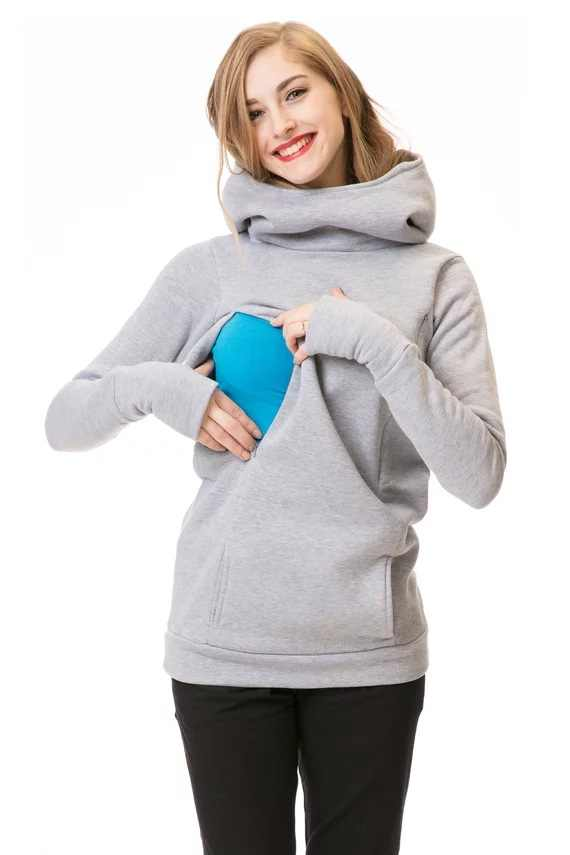 Ropa de maternidad de invierno Sudadera con capucha de maternidad abrigo de embarazo chaqueta de Bebé Ropa de enfermería sudaderas embarazadas lactancia materna