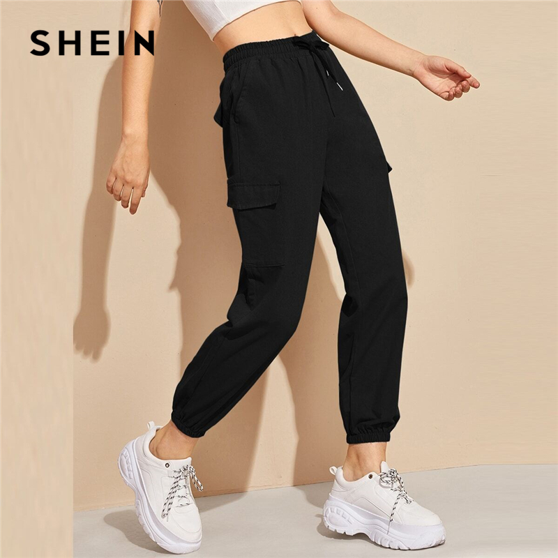 SHEIN Black Flap Pocket Drawstring Waist Sweatpants Sporting Pants Women Spring High Waist Long Carrot Trousers Cropped Pants 1