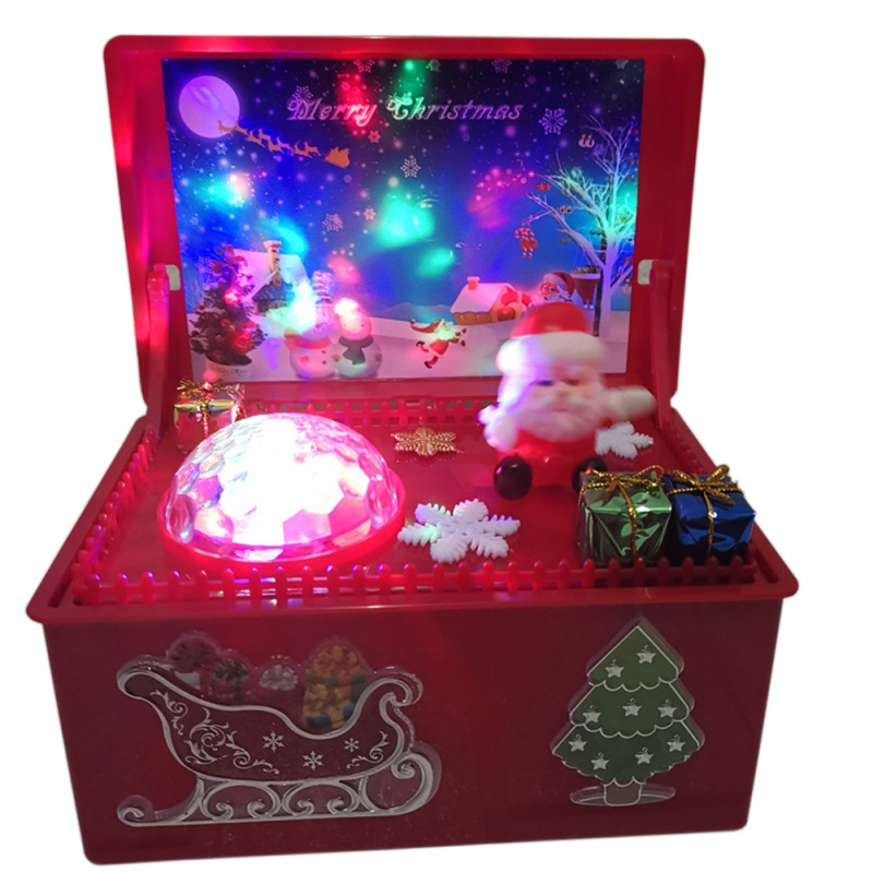 Glowing Carved Christmas Music Box Christmas songs with Colorful lights flashing Wood Music Box Christmas Gift for Children Kids image
