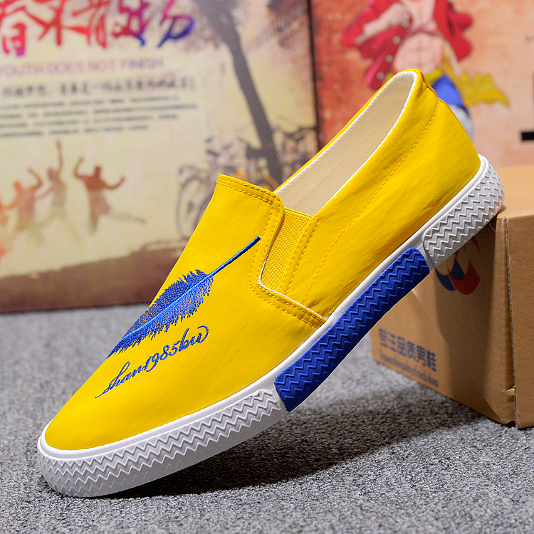 Leaves Red Fashion Men's Casual Loafers Fashion Embroidery Men's Casual Canvas Shoes Summer Breathable Male Flat Shoes