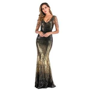 Image 2 - YIDINGZS Con Scollo A V Paillettes Oro Vestito Da Promenade Delle Donne Perline Elegante Lungo Del Partito di Sera del Vestito YD16180
