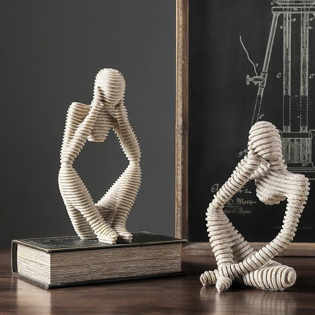 VILEAD Nordic Abasract Thinker Statue Resin Figurine Office Home  Decoration Desktop Decor Handmade Crafts Sculpture Modern Art 5