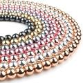Натуральный камень, розовое золото, гематит, бусины 4, 6, 8, 10 мм, круглые, свободные бусины для рукоделия, ювелирное изделие, браслет, DIY аксессу...