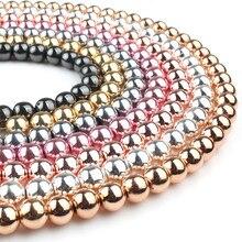 Cuentas de hematita de oro rosa de piedra Natural, abalorios redondos sueltos de 4, 6, 8 y 10MM para costura, fabricación de joyas, pulsera, accesorios DIY de 15 pulgadas