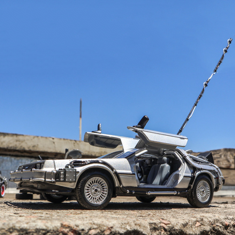 1/24 Scale Metal Alloy Car <font><b>Diecast</b></font> Model Part 1 2 3 Time Machine DeLorean DMC-12 Model Toy Back to the Future Fly version Part 2 image