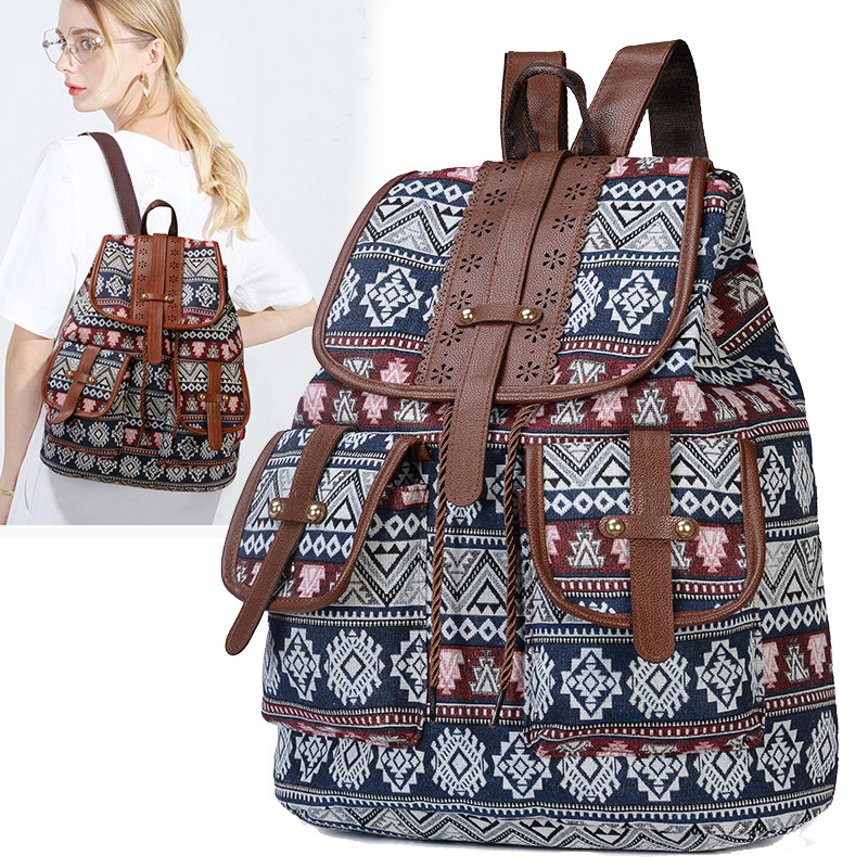 2020 Vintage Embroidery Ethnic Canvas Backpack
