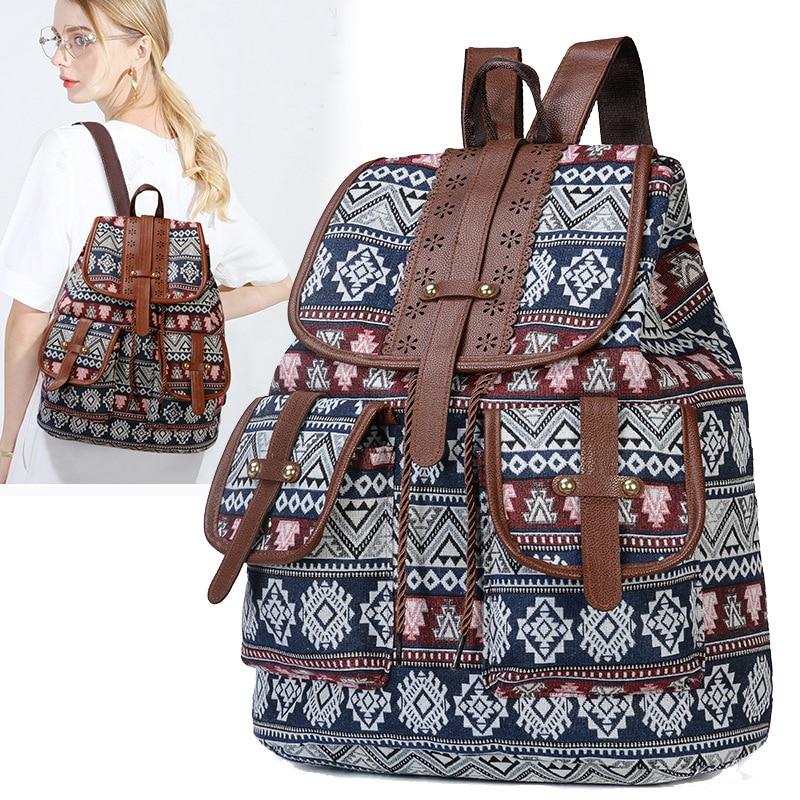 2019 Vintage Embroidery Ethnic Canvas Backpack Women Handmade Flower Embroidered Travel Bag Schoolbag Backpacks Rucksack Mochila