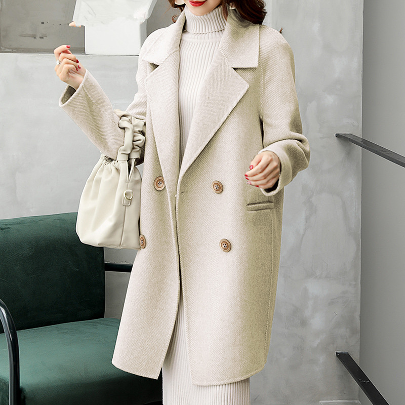 Image 3 - AYUNSUE Dupla Face Casaco de Lã do Revestimento das Mulheres Roupas de Inverno 2019 Casaco de Lã de Alpaca Fêmea Coreano Longos Casacos Chaqueta Mujer MY3820Lã e mistura   -