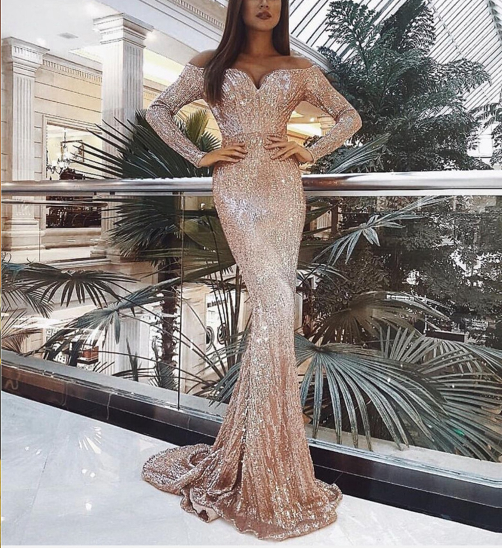 STYLISH LADY Sequin Long Mermaid Dress 2019 Autumn Women Long Sleeve Off The Shoulder Bodycon Gold Club Party Maxi Sequin Dress