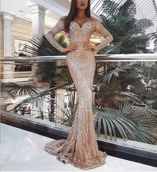 STYLISH LADY Sequin Long Mermaid Dress 2019 Autumn Women Long Sleeve Off the Shoulder Bodycon Gold Club Party Maxi Sequin Dress missord 2020 sexy off the shoulder sequin party dress women high split maxi dress long sleeve party bodycon dress vestidos m0806