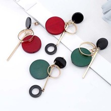 цена на 1 Pair Wood Earrings For Women Fashion Statement Drop Round Geometry Hollow Alloy Stud Earring Ethnic Jewelry Gifts