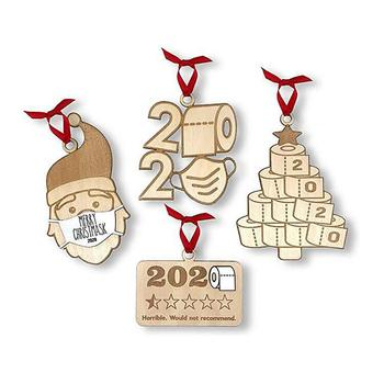 4pcs 2020 Quarantine Christmas Wooden Ornament Toilet Paper Pendant New Year 2021 Gift Home Christmas Tree Decoration noel image