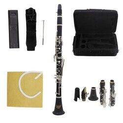 IRIN ABS 17 Key Clarinet BB Flat Soprano Binocular Clarinet with Cleaning Cloth Gloves Screwdriver Reed Case Woodwind Instrument