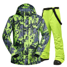 Men Ski Suit Winter Brands High Quality Windproof Waterproof Warmth Snow Jackets and Pants Men Skiing and Snowboarding Suits cheap MUTUSNOW COTTON Polyester Microfiber Acrylic Hooded Fits larger than usual Please check this store s sizing info HongLvDiTu