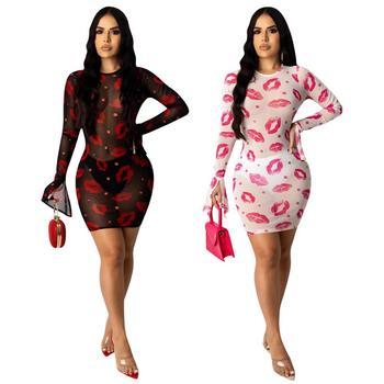 Adogirl 2020 New Summer Women Sheer Mesh Red Lips Print Sexy Club Dress Long Sleeve Round Neck See Through Short Bodycon Dress 8