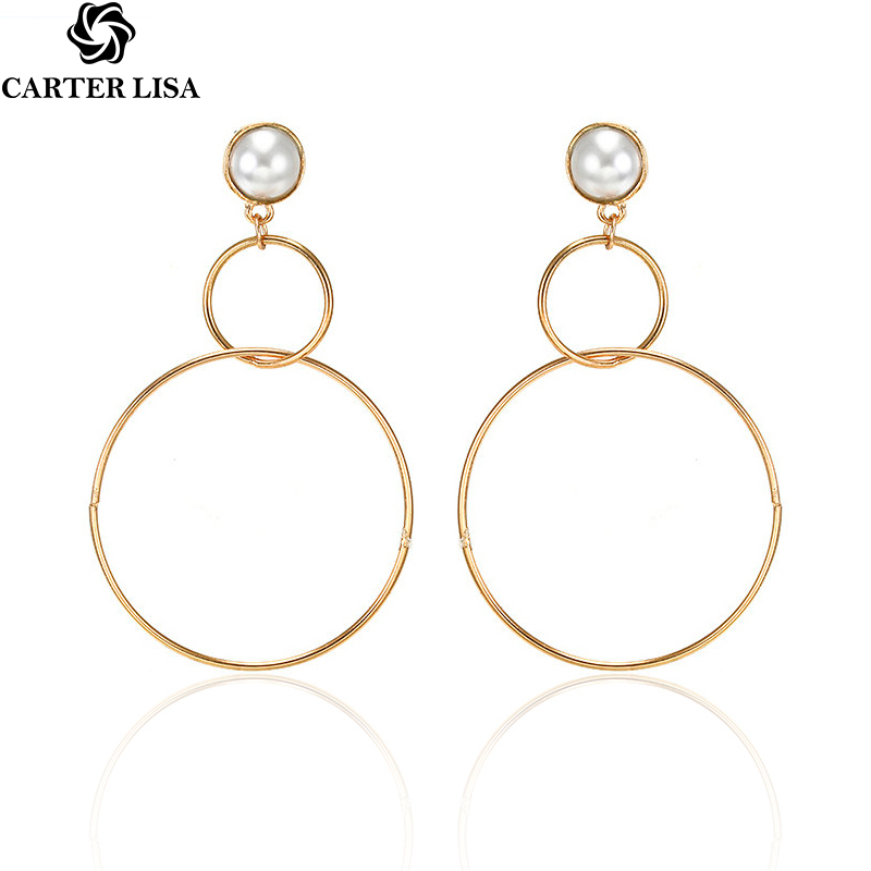 CARTER LISA 2019 New Hot Fashion Jewelry Earring Big Circle Drop Earrings For Women Girls Simple Fashion Metal Jewelry Brincos