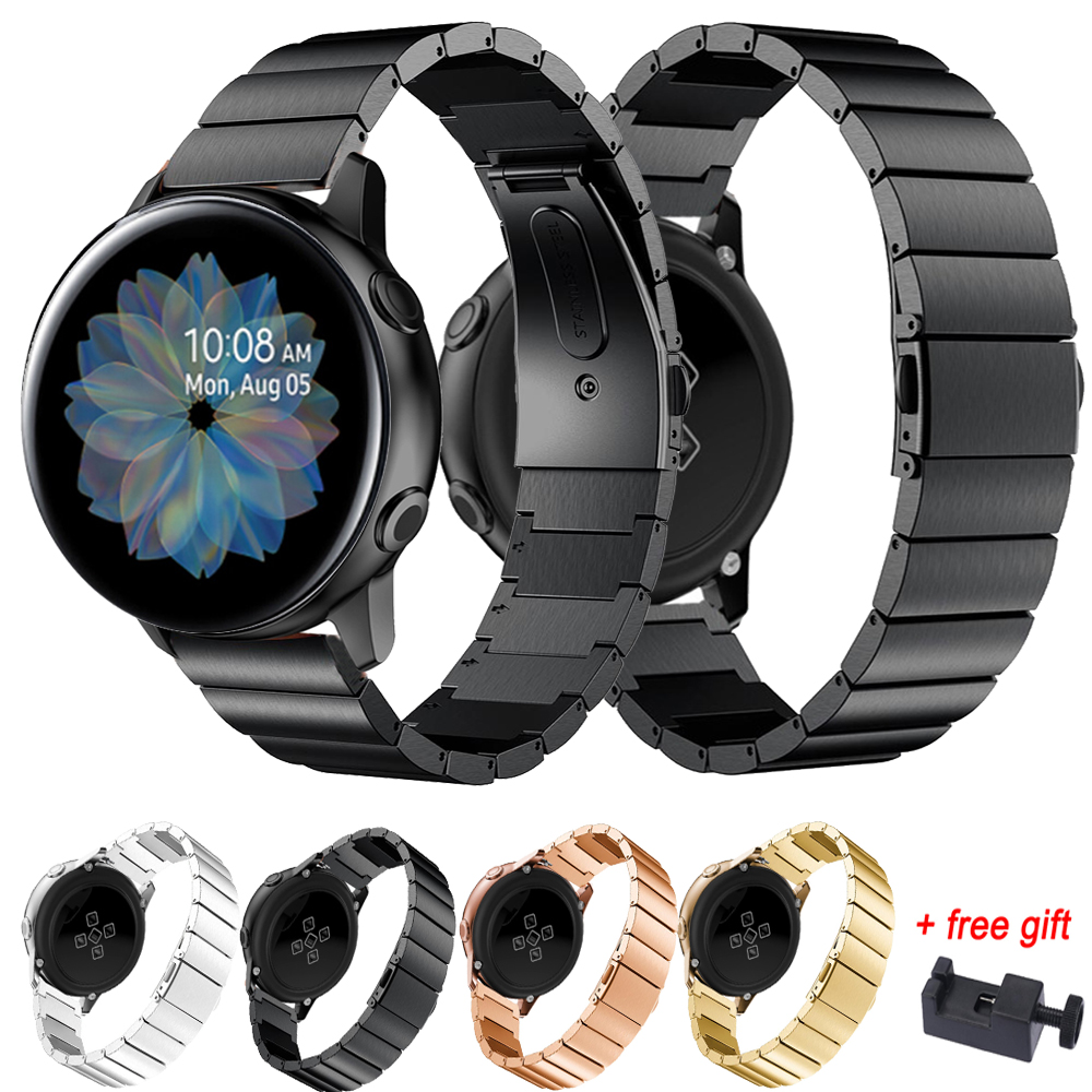 For Samsung Galaxy Watch Active 2 44mm 40mm Stainless Steel 20MM Watch Strap Band Bracelet Metal Active2 Watchbands With Tool