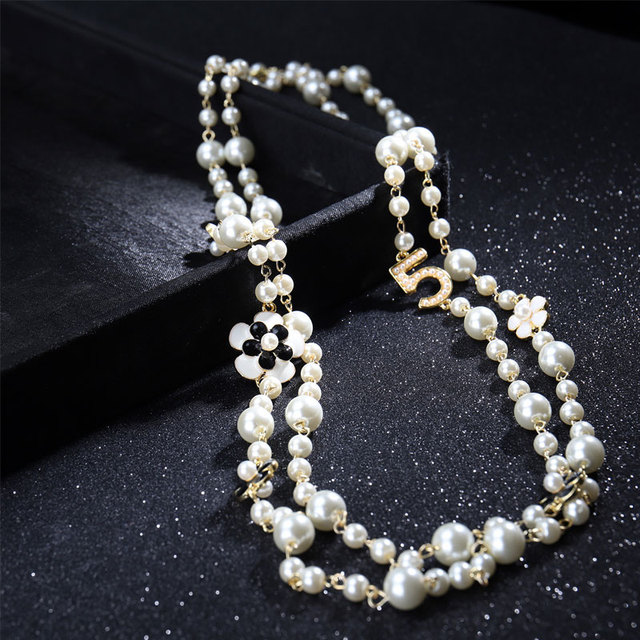 layered pearl and number pendant necklace 2