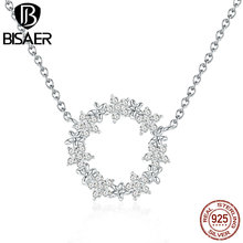 BISAER 925 Sterling Silver Shining Clear CZ Gypsophila Flower Choker Necklace Women Chain Necklaces 2019 New Moda GAN028