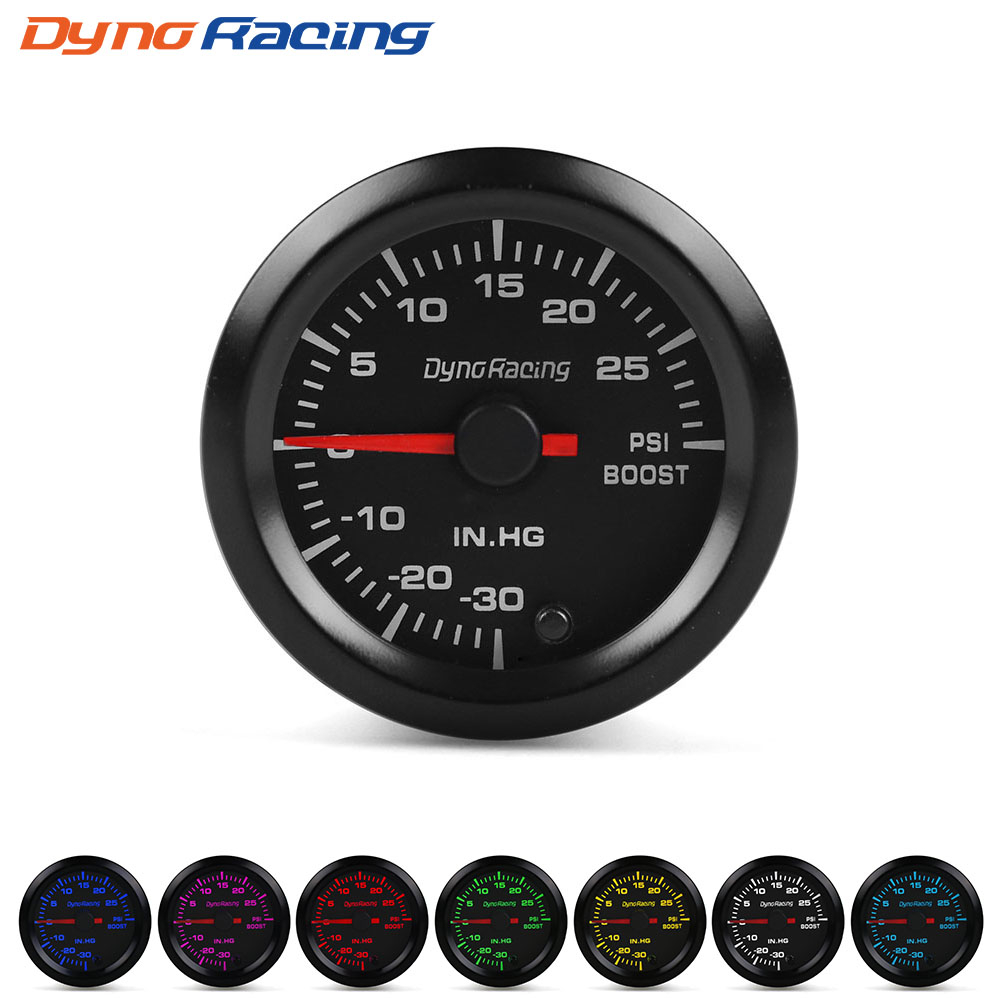 """Dynoracing """" 52 мм 7 видов цветов, высокая скорость, автомобильный наддув, температура воды, температура масла, масло, пресс, воздух, топливо, соотношение вольтметр, EGT, тахометр, Датчик Оборотов - Цвет: Boost gauge psi"""