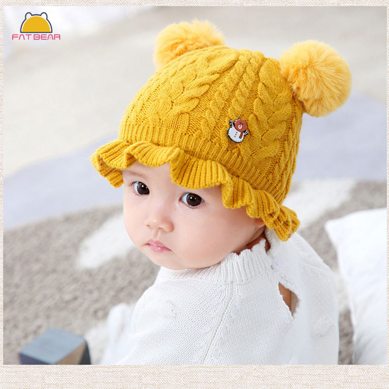 Newborn Baby Kid Boy Girl Turban Fall Winter Warm Knitt Head Wear Beanie-Hat Cap