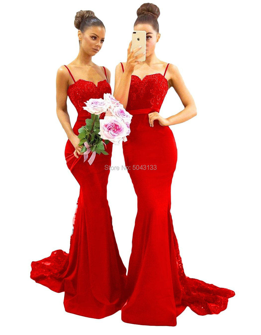 Sexy Sweetheart Straps Mermaid   Bridesmaid     Dresses   2019 Beaded Lace Off The Shoulder Formal Wedding Prom Gowns Long Party   Dress