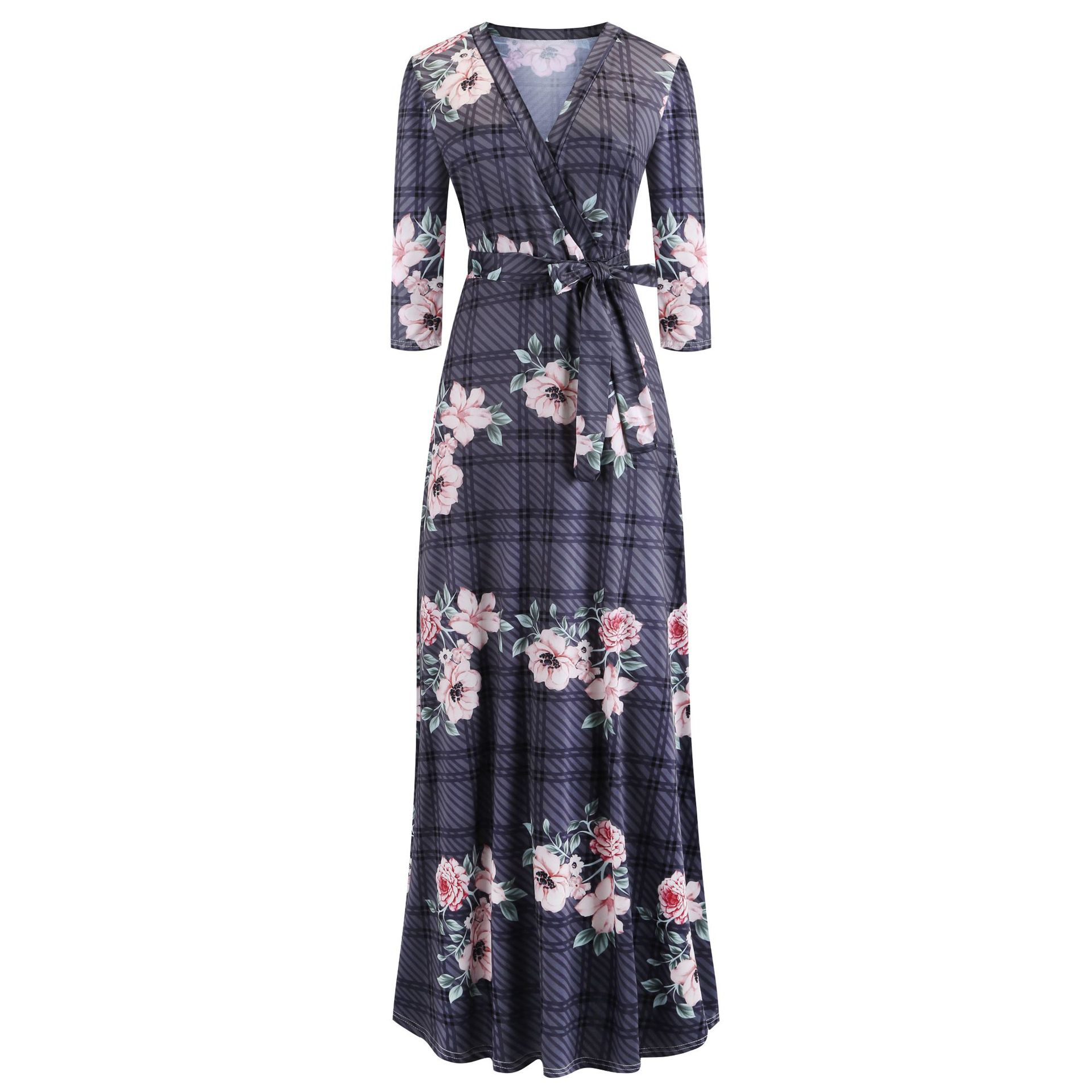 H510244daec2f4e89999b3a131ae39600n - Oufisun Spring Sexy Deep V Neck Women's Dress Bohemia Tunic Maxi Dresses Elegant Vintage Flowers Print Dress Vestidos Plus Size