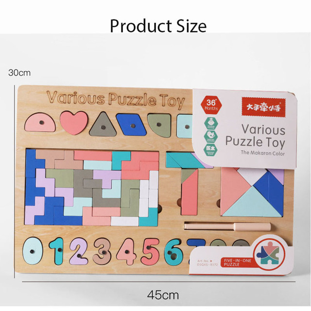2020 New Various Features Wooden Tangram Jigsaw Puzzle Board Shapes Digital Baby Learning Educational Toys for Children Wood Toy