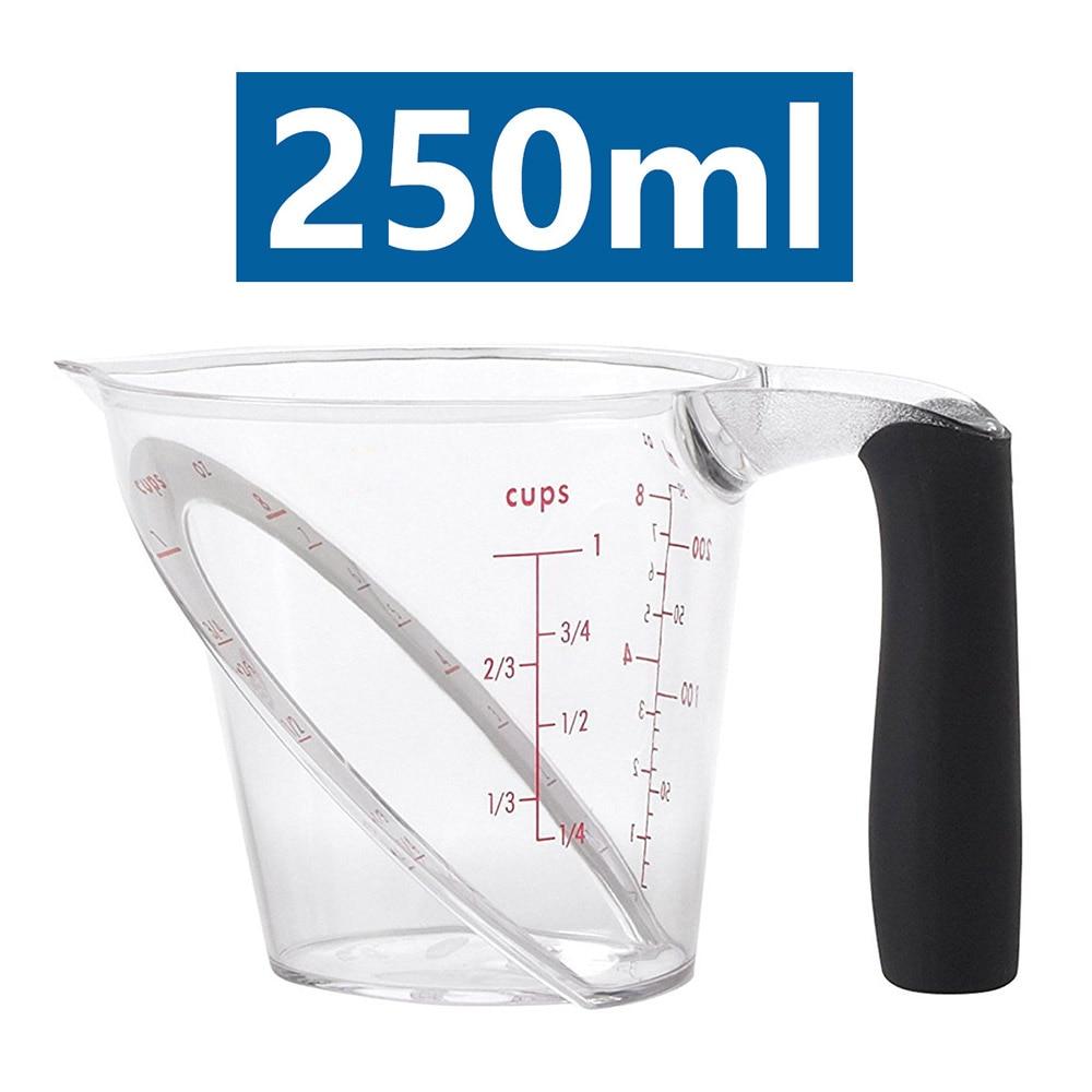 Copos de medição transparentes plásticos angulares dos copos de medição 250ml que lêem para o teste de apoio da cozinha ferramentas seguras da máquina de lavar louça da micro-ondas