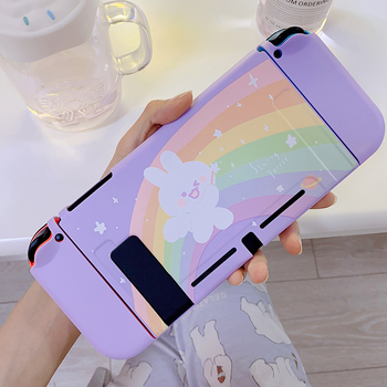 STARRY FOREST Rainbow Bunny cute purple soft protective case shell for nintendo switch for girls