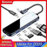 Baseus USB-C Tipo C HUB a HDMI RJ45 Multi USB 3.0 Adattatore Per MacBook Pro Air Dock USB C HUB con il Caricatore Wireless Per iWatch