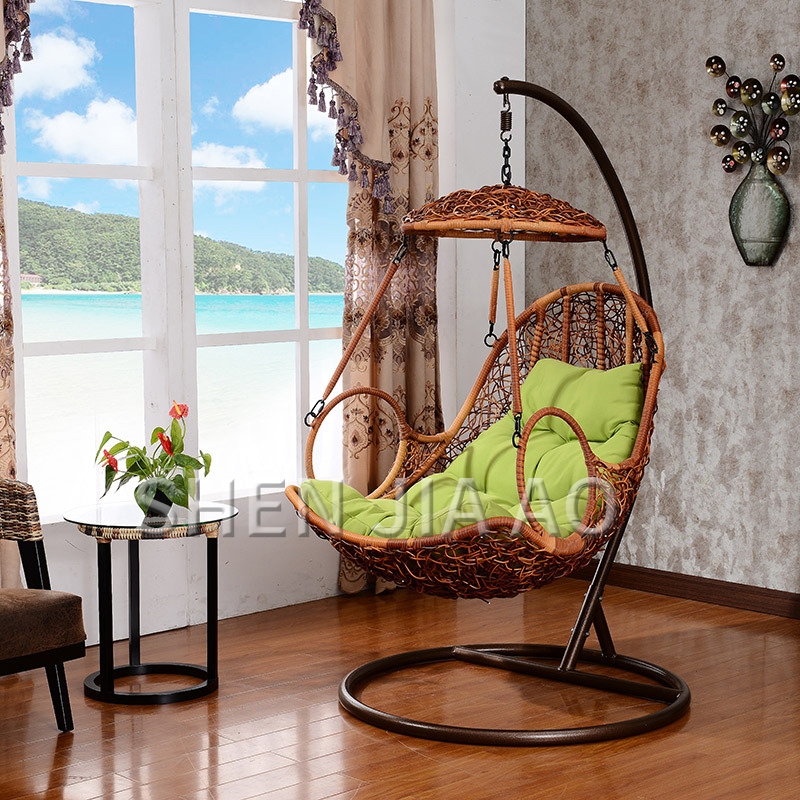 Rattan Rocking Chair Adult Hanging Detachable Balcony Hanging Basket Cradle Chair Courtyard Swing Outdoor Rattan Furniture Chair