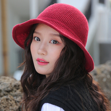 HT2743 Autumn Winter Hats for Women Solid Plain Knitted Hat Ladies Fashion Packable Bucket Female Panama Fishing Cap