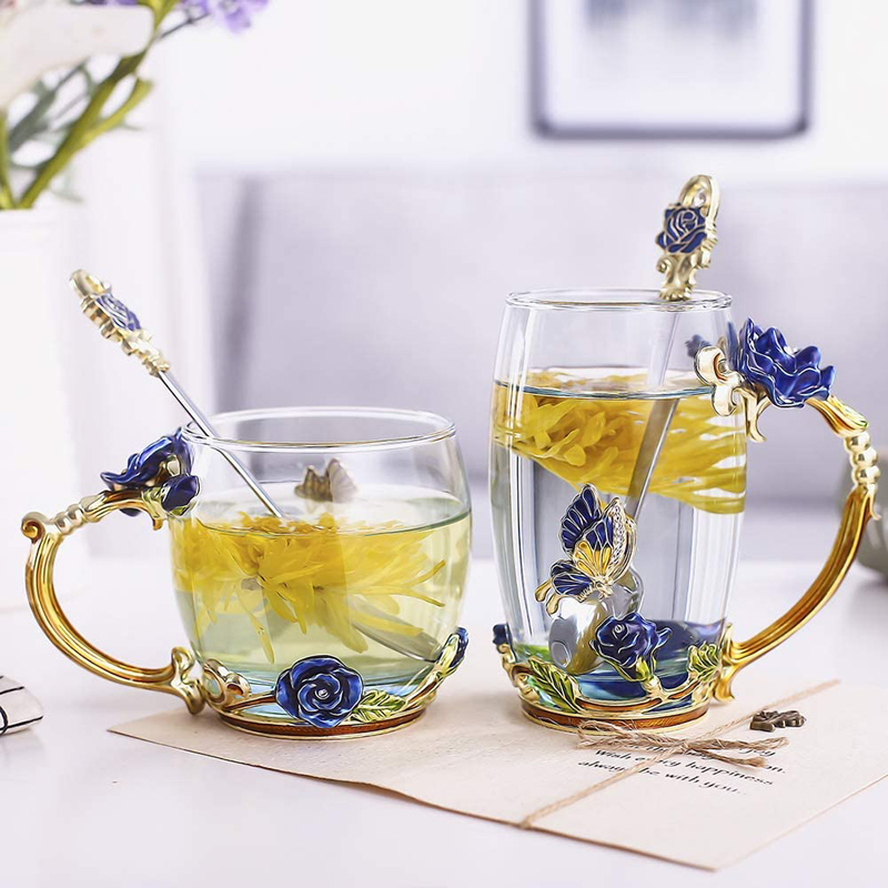 Handmade Enamel Cup Flower Colorful Butterfly Handmade Drinking Cups with Spoon Set Gift For Birthday Wedding GHS99