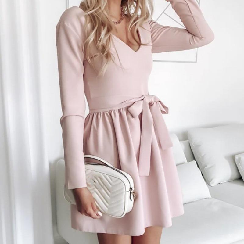 Women Vintage A-line Sashes Sexy Mini Dress V-neck Solid Color Pink Sweet Autumn Spring Women Dress Elegant Fashion Female Dress