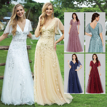 Prom-Dresses Ever Pretty Sequined Long Short Party-Gowns V-Neck Ruffles-Sleeve A-Line