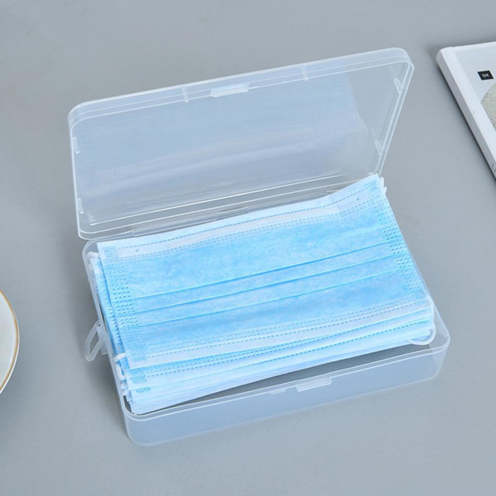 New 2Pcs Portable Dustproof Mask Case Transparent Disposable Face Masks Storage Box Clip Container Organizer