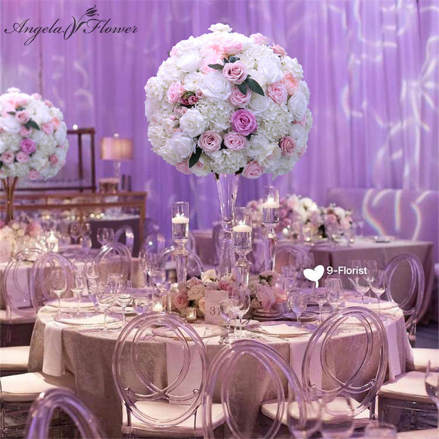 $ US $70.00 60CM 3/4 Large Artificial Flower Ball Silk Table Flower Centerpiece For Party Event Wedding Decor Road Lead Table Flower Bouquet