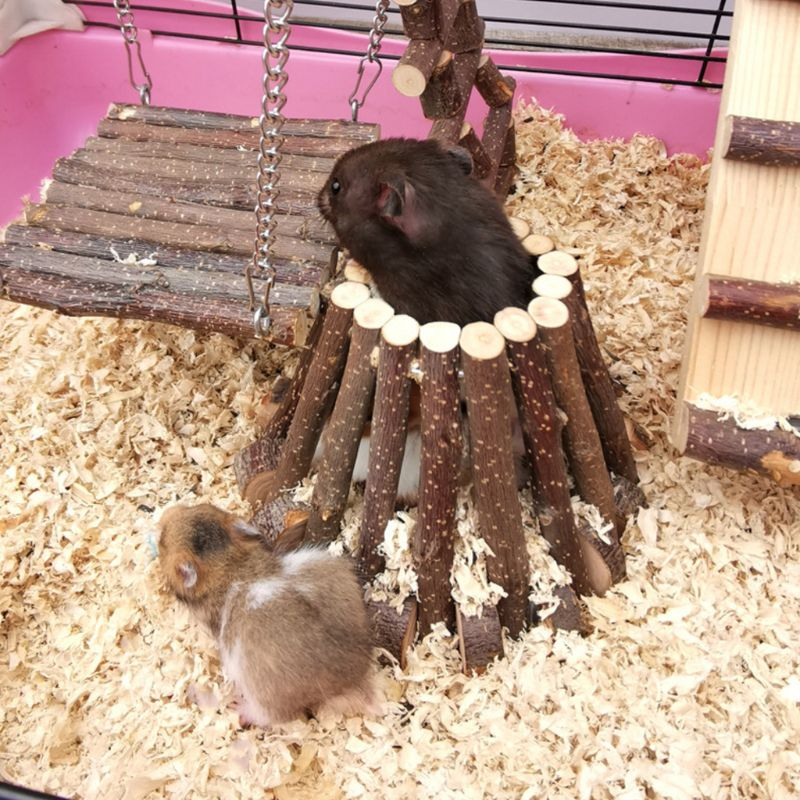 Hamster Wooden Toy House Small Animal Home Accessories For Mice Rodents Climbing