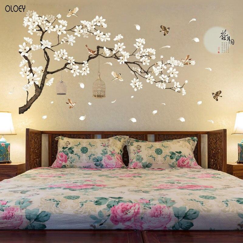 60*90 см * 2 шт наклейки на стену с изображением птиц цветок домашний декор обои для гостиной спальни DIY виниловые комнаты украшения обои