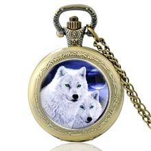 High Quality Vintage Cute Wolf Glass Dome Quartz Pocket Watch Classic Men Women  Bronze Necklace Pendant Gifts