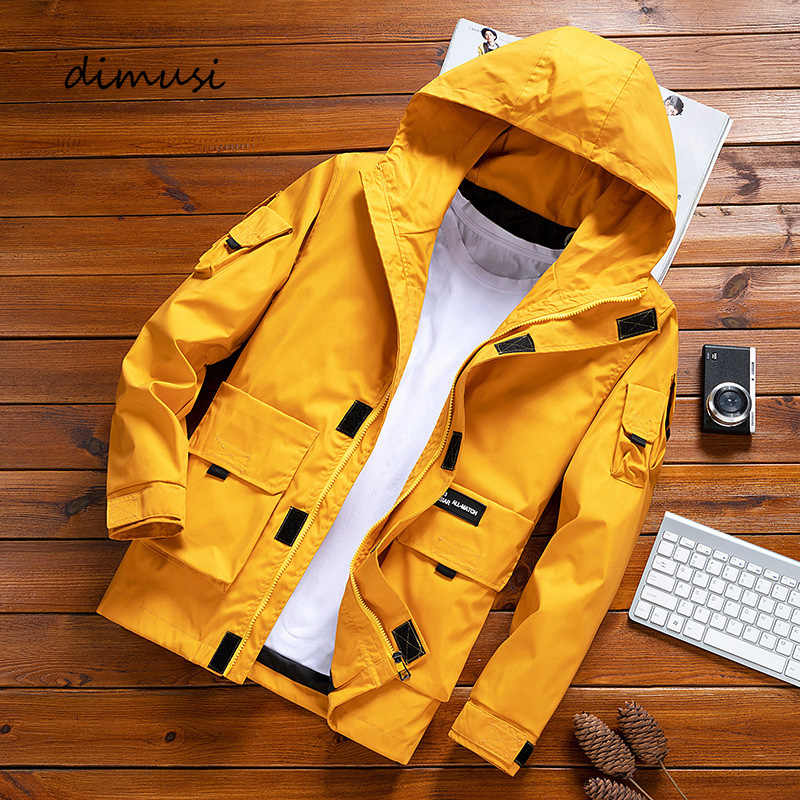 DIMUSI Mens Bomber Jackets Autumn Casual Man Solid Color Sportswear Hooded Coats Mens Outwear Slim Windbreaker Jackets Clothing